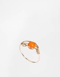 Katandbee Kat And Bee Inacio 14Ct Gold Wire Ring With Coral Bead Orangegold