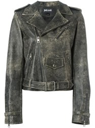 Just Cavalli Back Print Biker Jacket Grey