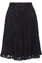 Valentino Pleated Cotton Blend Guipure Lace Skirt Midnight Blue