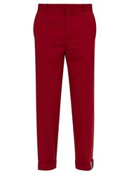Y Project Roll Up Cuff Wool Blend Trousers Red