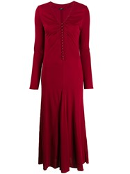 Joseph Marlene Button Down Maxi Dress Red