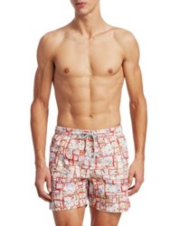 Saks Fifth Avenue Collection Paisley Box Swim Trunks Red