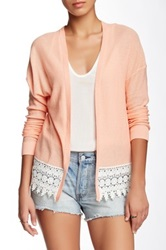 Wild Pearl Lace Hem Open Cardigan Pink