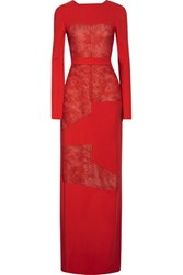 Antonio Berardi Lace Paneled Stretch Cady Gown Red