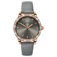 Sekonda Women's Crystal Leather Look Strap Watch Grey
