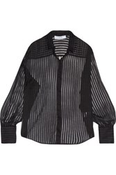 Iro Harleth Striped Silk Organza And Cotton Blend Shirt Black