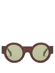 Kaleos Caster Round Frame Acetate Sunglasses Dark Brown