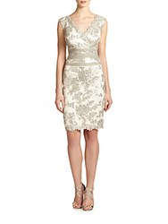 Tadashi Shoji Banded Waist Sequined Lace Dress Feather