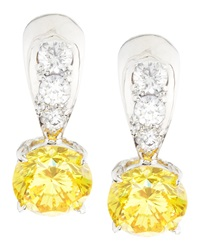 Fantasia Tapered Canary And White Cubic Zirconia Earrings
