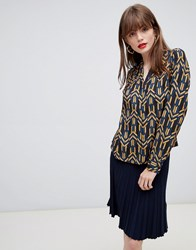 Darling Printed Black Shirt Navy