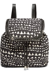 Stella Mccartney Faux Leather Trimmed Printed Canvas Backpack Black