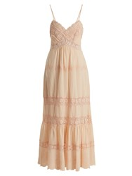 Rebecca Taylor Macrame Lace Panelled Cotton Dress Light Pink