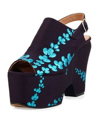 Dries Van Noten Embroidered Satin Platform Sandal Navy