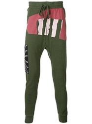 11 By Boris Bidjan Saberi Printed Drop Crotch Sweatpants Men Cotton M Green