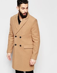 Asos Double Breasted Overcoat In Camel Beige