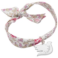 Merci Maman Sterling Silver Personalised Dove Liberty Bracelet Eloise Pink