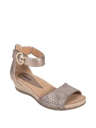 Earth Hera Leather Wedge Sandals Champagne