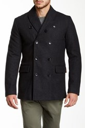 Ben Sherman Wool Blend Shawl Collar Peacoat Gray