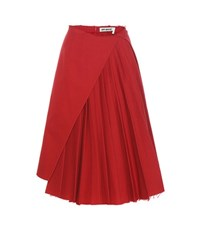 Off White Pleated Cotton Twill Skirt Red