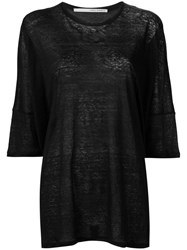 Isabel Benenato Three Quarters Sleeve Sheer T Shirt Black