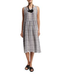 Eskandar Sleeveless Striped Check Linen Dress Gray