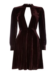 Little White Lies Long Sleeved Collar Cut Out Velvet Dress Red