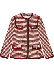 Gucci Striped Tweed Jacket Cotton Wool Acrylic Nylon Red