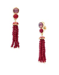 Anne Klein Epoxy Stone Tassel Drop Earrings Coral