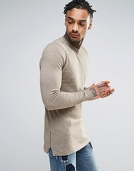 Asos Muscle Fit Longline Jumper With Side Zips In Beige Faded Taupe Brown