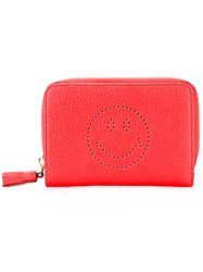 Anya Hindmarch Perforated Smile Face Wallet Yellow Orange