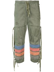 Greg Lauren Embroidered Stripes Cropped Trousers Women Cotton 3 Green