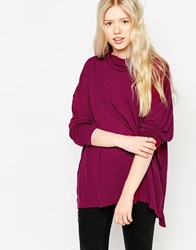 Brave Soul Long Sleeve High Neck Top Damson