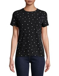 Lord And Taylor Petite Two Tone Short Sleeve Tee Black