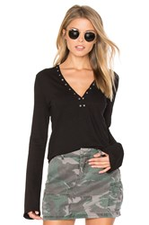 Pam And Gela V Neck Grommet Top Black
