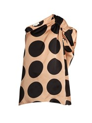 Stella Mccartney Asymmetric Polka Dot Print Silk Top Nude Multi