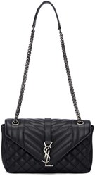Saint Laurent Black Medium Monogram Slouchy Bag