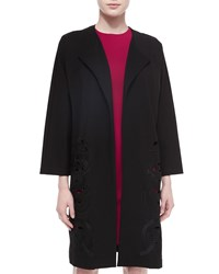 Josie Natori Embellished Long Jersey Topper W Cutouts Black