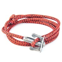 Anchor And Crew Union Rope And Silver Bracelet Red Noir