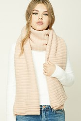 Forever 21 Ribbed Knit Oblong Scarf Pink