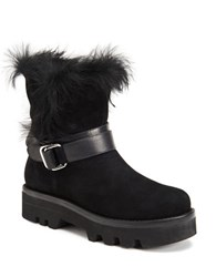Rachel Zoe Voz Rabbit Fur Trimmed Kid Suede Ankle Boots Black