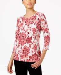 Jm Collection Floral Print Jacquard Top Only At Macy's Perfect Rose Combo