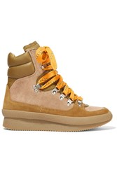 Isabel Marant Brendty Leather Trimmed Suede And Canvas High Top Sneakers Tan