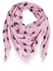 Kenzo Fringed Jacquard Silk And Modal Scarf Pink