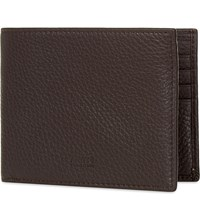 Armani Collezioni Grained Leather Wallet Brown