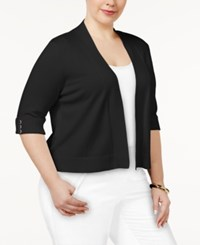 Jm Collection Plus Size Open Front Cropped Cardigan Only At Macy's Deep Black