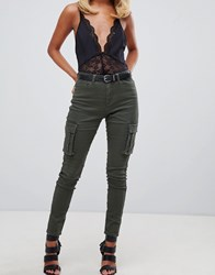 Missguided Skinny Cargo Jeans In Khaki Green