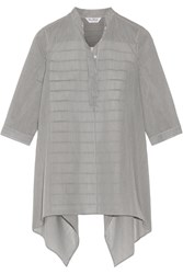 Max Mara Aderire Oversized Striped Cotton And Silk Blend Shirt Black