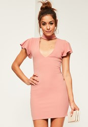 Missguided Pink Crepe Frill Sleeve Choker Neck Bodycon Dress Rose