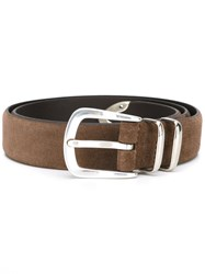 Eleventy Suede Buckle Belt Brown