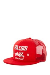 Volcom Mack Cheese Snapback Cap Red